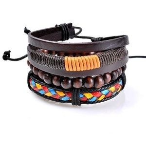 BRAND NEW 3pc LEATHER/WOOD MULTI LAYER BRACELET